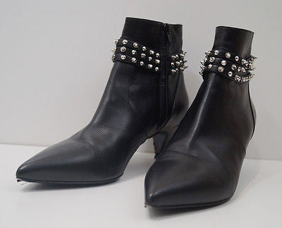 SAINT LAURENT PARIS Black Leather Silver Cat Studded Ankle Boots EU39 UK6