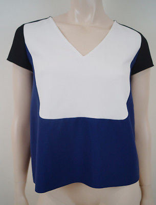 TARA JARMON White Blue Black Colour Block V Neck Short Sleeve Blouse Top 38 UK10
