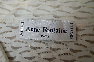 ANNE FONTAINE Off White Textured Collarless Zip Front 3/4 Sleeve Jumper Top UK10