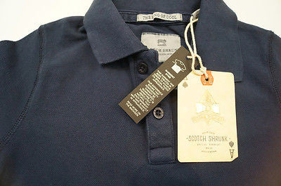 SCOTCH SHRUNK Boys Navy Blue Short Sleeve Button Up Collared Polo Shirt Top BNWT