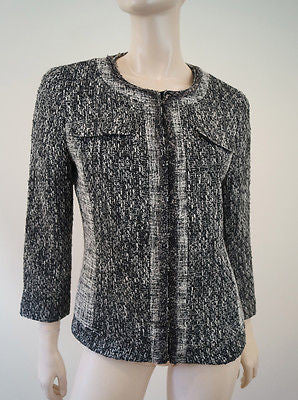 T TAHARI Women's Black & White Tweed Fitted Jacket UK12; US8; IT44