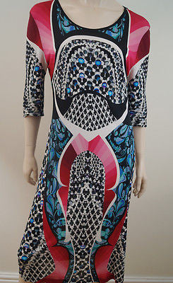 PETER PILOTTO Multi-Colour Bold Print 3/4 Sleeve Scoop Neck Summer Dress UK14