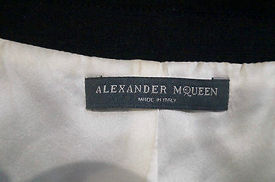 ALEXANDER MCQUEEN Black Wool & Silk V Neck Sleeveless Tuxedo Jumpsuit Sz:44 UK12