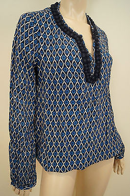 TORY BURCH Black Blue Cream 100% Silk Floral Print Bobble Neck Tunic Blouse Top
