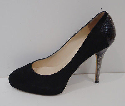 JIMMY CHOO Black Suede & Grey Snake Trim High Platform Court Pump Shoes EU39 UK6