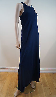 PATTERSON J KINCAID Navy Blue Pleated Racer Back Long Length Maxi Dress Sz:S