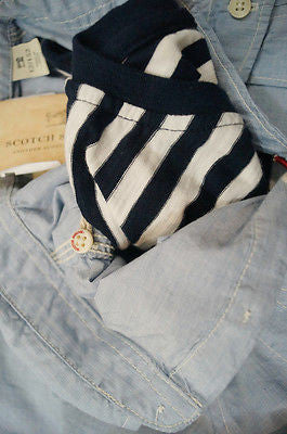 SCOTCH & SODA SHRUNK Boys Pale Blue Long Sleeve Collared Shirt W Stripe Tee BNWT