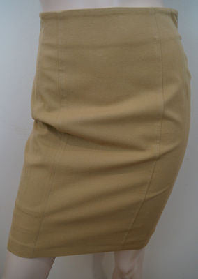 BLUMARINE Made In Italy Beige Branded Fitted Short Formal Pencil Skirt IT40 UK8