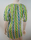 T-BAGS LOS ANGELES Bright Geometric Print Long Length Pleated Tunic Top Sz:S