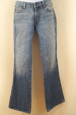 7 FOR ALL MANKIND Womens Blue Denim Faded & Crease Detail Bootcut Jeans Sz 28
