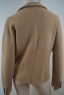 J CREW Brown Knitted V Neck With Lapels Long Sleeve Casual Blazer Jacket Sz:M