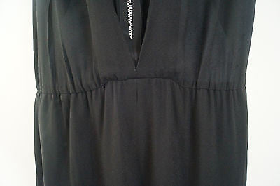 SANDRO Ladies Black V Neck Silver Tone Zip Fastened Evening Jumpsuit  Sz:3; L