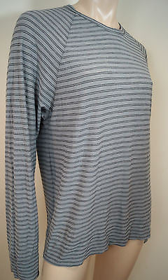 JAMES PERSE STANDARD Grey & Black Stripe Long Sleeve Raglan Tee Top Sz:S BNWT