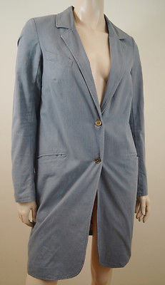 MANOUSH Grey 100% Cotton Long Length Jacket Trench Coat Mac FR38; UK10