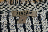 JIGSAW Navy & Cream Glitter Detail Stud Fastened Fringed Knit Cardigan Jacket S