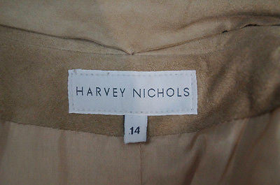 HARVEY NICHOLS Made In Italy Beige Sand Suede Leather Lined Jacket UK14