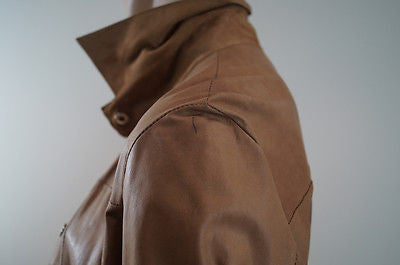 JAMES LAKELAND Made In Italy Tan Suede Leather Jacket Blouse Top UK8; EU40
