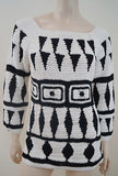 ALBERTA FERRETTI White & Black Loose Knit Open Tie Back Jumper Sweater Top UK12