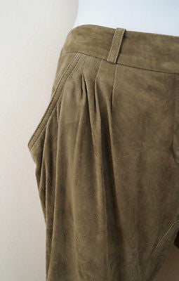 BARBARA BUI Khaki 100% Lambs Leather Suede Tapered Tie Leg Trousers Pants Sz38