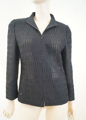 AKRIS Women's Black 100% Silk Slightly Sheer Fabric Detail Evening Jacket Sz: M
