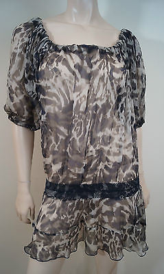 AMBIENTE Beige Brown Black Silk Animal Print Sleeveless Sheer Tunic Dress GB14