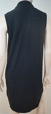 CARVEN Black 100% Cotton Collared Sleeveless Short Length Everyday Dress SzM