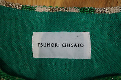 TSUMORI CHISATO Emerald Green Cotton Embroidered Long Sleeve Sweater Top M
