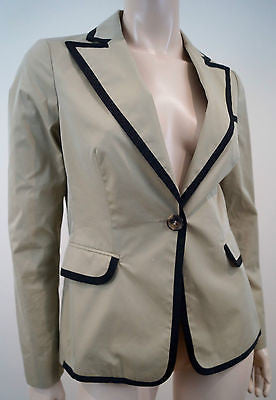 ETRO MILANO Beige & Black Trim Cottton Blend Silk Lined Blazer Jacket Sz42 UK10