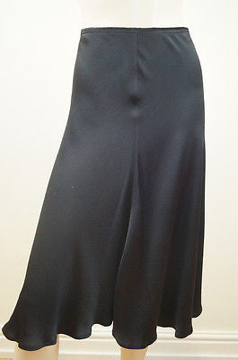 DONNA KARAN NEW YORK Women's Black Silk Blend Flowy Evening Skirt IT44; UK14