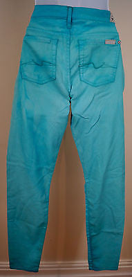 7 FOR ALL MANKIND THE SKINNY Bright Blue Slim Fit Jeans Trousers Pants Sz 27