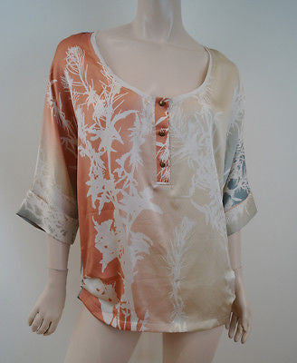 DIANE VON FURSTENBERG Multi Coloured 100% Silk 3/4 Sleeve Summer Blouse Top UK10