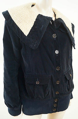 MARC BY MARC JACOBS Navy Blue Corduroy Cream Funnel Collared Casual Jacket Sz:L