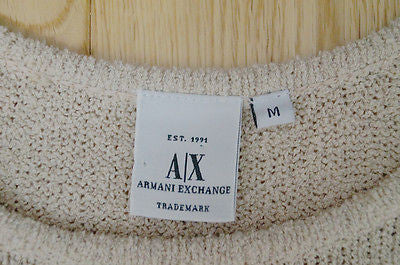 ARMANI EXCHANGE Beige & Brown Cotton Blend Sleeveless Knitted Vest Top Sz:M