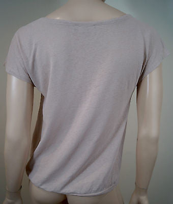 FARHI BY NICOLE FARHI Beige Salmon Linen & Cotton Scoop Neck T-Shirt Top Sz:M