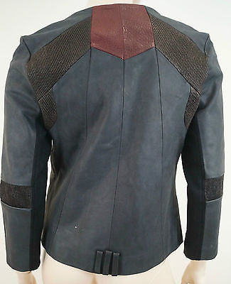 FRANCIS LEON Women's Black Round Neck Leather Fitted Zipper Biker Jacket S BNWT