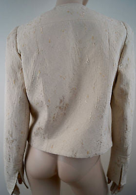 MAX & CO Cream Gold & Silver Metallic Thread Evening Blazer Jacket GB14 BNWT