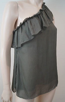 MILLY OF NEW YORK Khaki Olive Green Silk Ruffle Trim One Shoulder Top US8 UK12