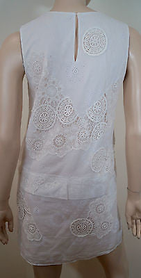 VANESSA BRUNO White Embroidered Round Neck Sleeveless Summer Tunic Dress 40 UK12