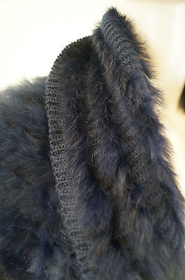 STUDIO LA PERLA Black & Navy Knitted Rabbit Fur Bolero Cardigan Jacket Sz:L
