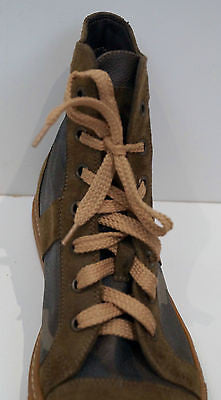 TRUSSARDI Khaki Brown Camo Print Suede Leather High Tops Sneakers 40 Worn Once!
