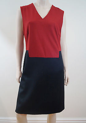 RAOUL Ladies Red & Black 100% Wool Sleeveless Lined Formal Dress FR40; UK12