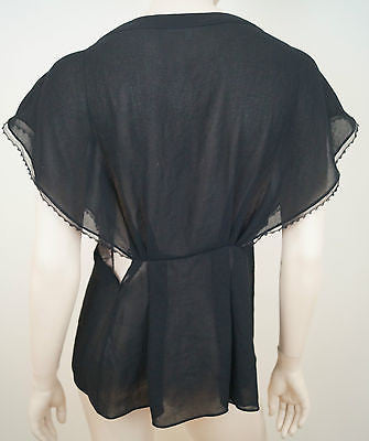 VANESSA BRUNO Black Sheer Plunge V Neck Lace Insert Cap Sleeve Top FR40 UK12