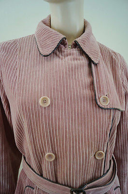 GERARD DAREL Pale Salmon Pink Cotton Corduroy Belted Winter Coat Sz:40 UK16