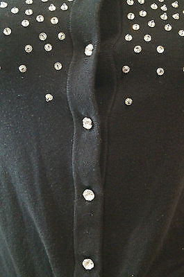 KATE SPADE Black Cotton Silk & Cashmere Embellished Round Neck Cardigan Top XS