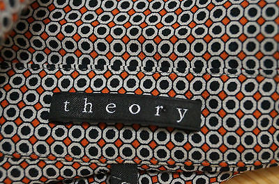 THEORY Black & Orange 100% Silk Geometric Print Short Mini Shirt Dress Sz0; UK4