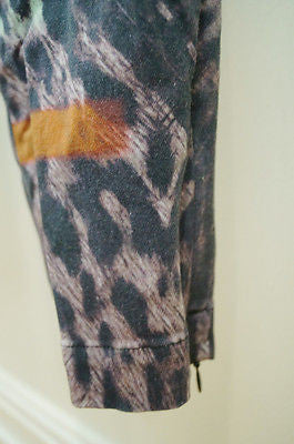 PREEN LINE Multi-Colour Animal Leopard Print Stretch Cotton Drill Trousers Pants