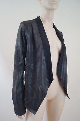 VELVET Graham & Spencer Black Faux Leather Sheen & Jersey Cardigan Jacket Sz:M