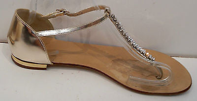 GIUSEPPE ZANOTTI Gold Metallic Leather & Silver Crystal Diamante Thong Sandals