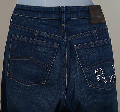 AJ ARMANI Blue Cotton Stretch Silver Studded Branded Rear Straight Leg Jeans 29