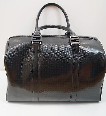 FENDI Ladies Designer Black Leather Logo Embossed Medium Size Bowling Tote Bag